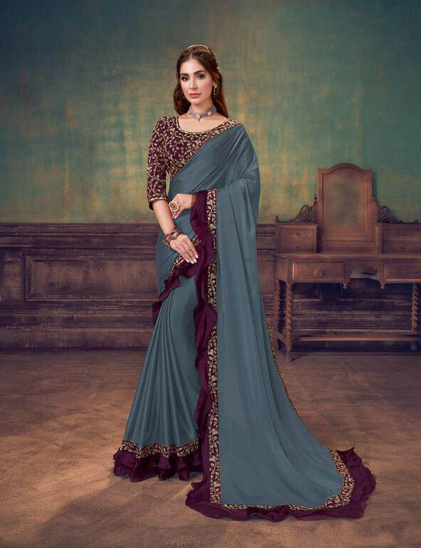 New Maker Blue Grey Georgette Saree With Raw Silk Blouse