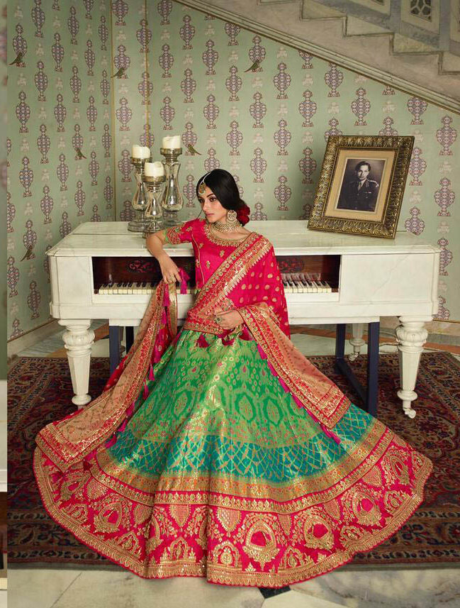 New Wedding Mode Green Color Lehenga with a price