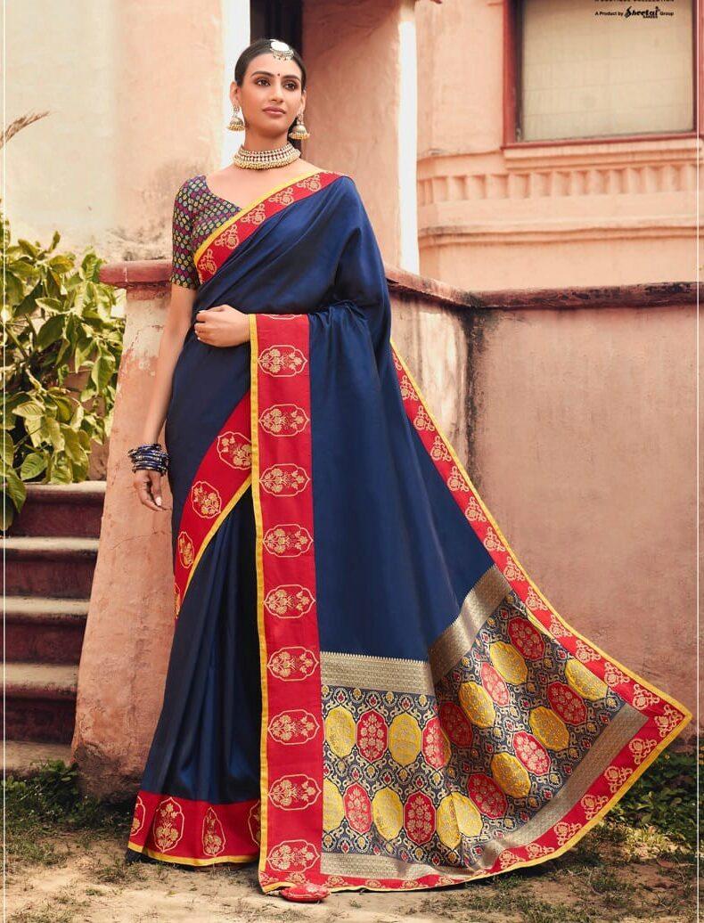 New Designer Blue Color Bridal Saree With Digital Printed Blouse