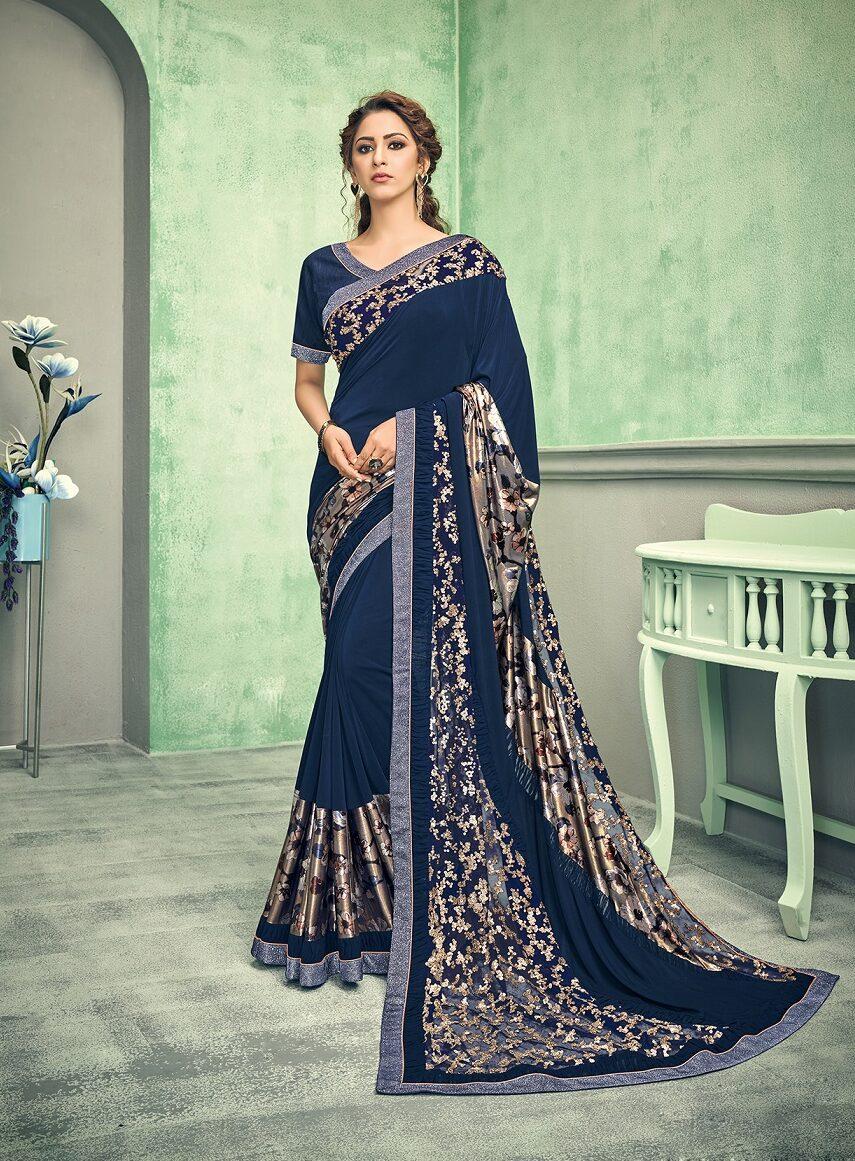 New designer blue color Resham work saree for festival outfits
