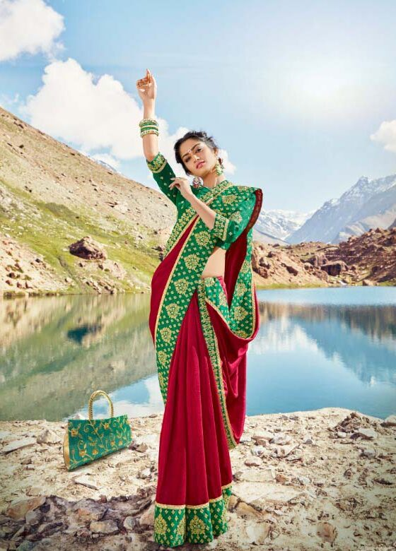 New designer red color fancy silk saree embroidered heavy lace.