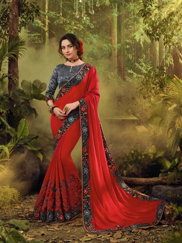 New designer red color fancy silk saree with fancy blouse.