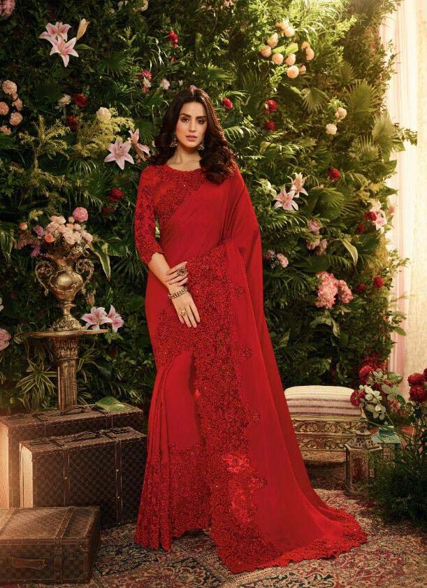 New designer red color heavy silk saree with a price