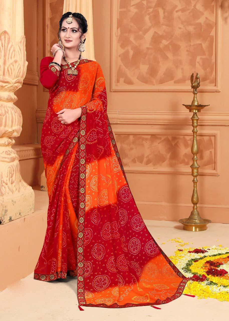 New designer red orange color casual saree with a price.