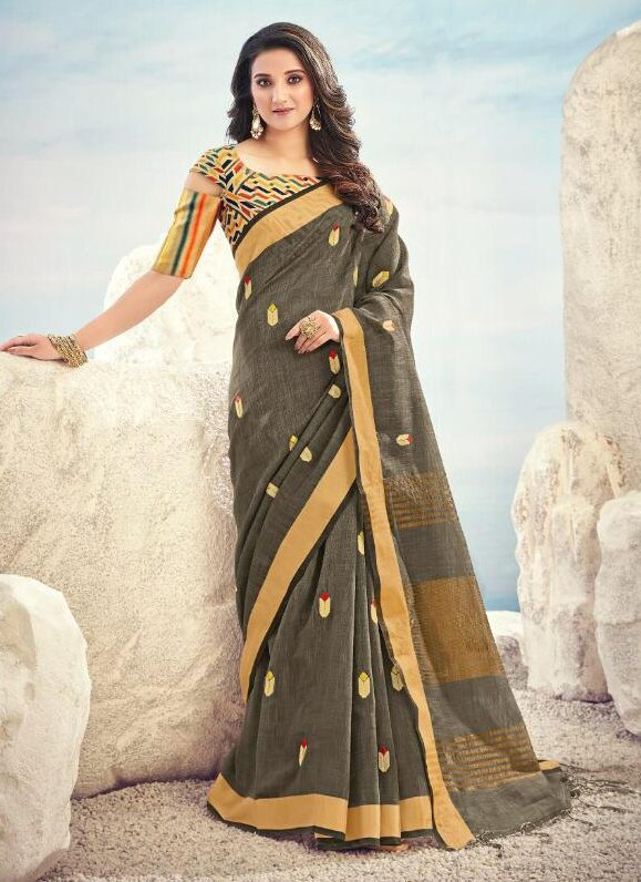 New Embroidered Light Black Linen Cotton Saree With Zari With Blouse