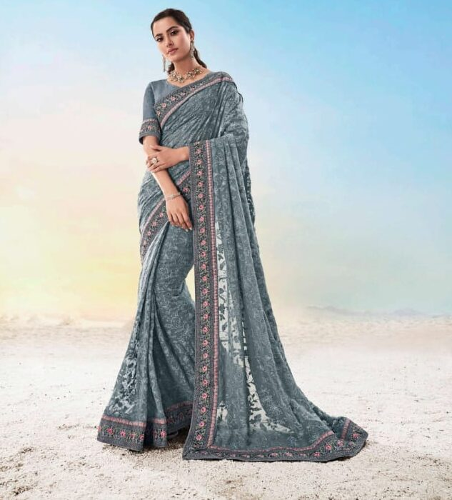 New trend designer heavy work grey color bridal saree with blouse