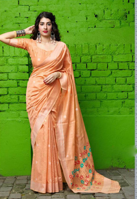 New trend designer light orange color bridal silk saree with blouse