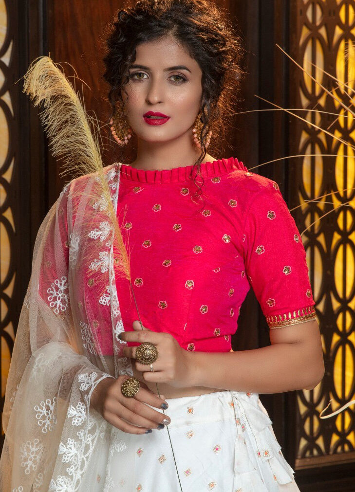Party Wear Magenta and White Crop Top with Ghagra