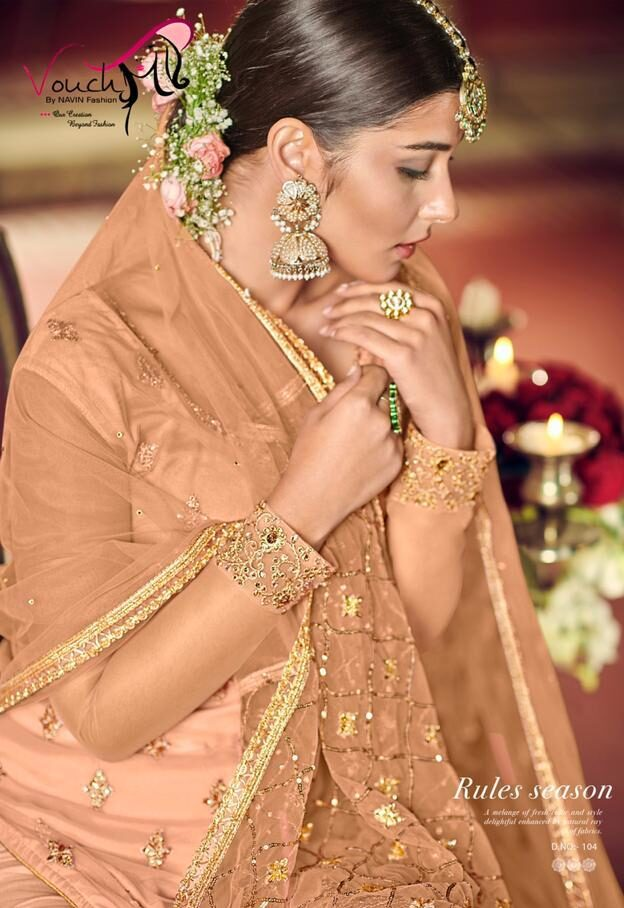 Peach Colour Sharara Wedding Dress