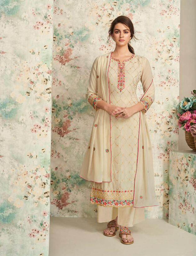 Real Georgette work Cream Color Dull Santoon Suit With Dupatta