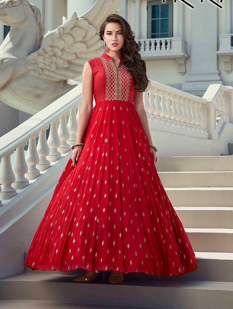 Red Colour Designer New Gown Design 2020 Images