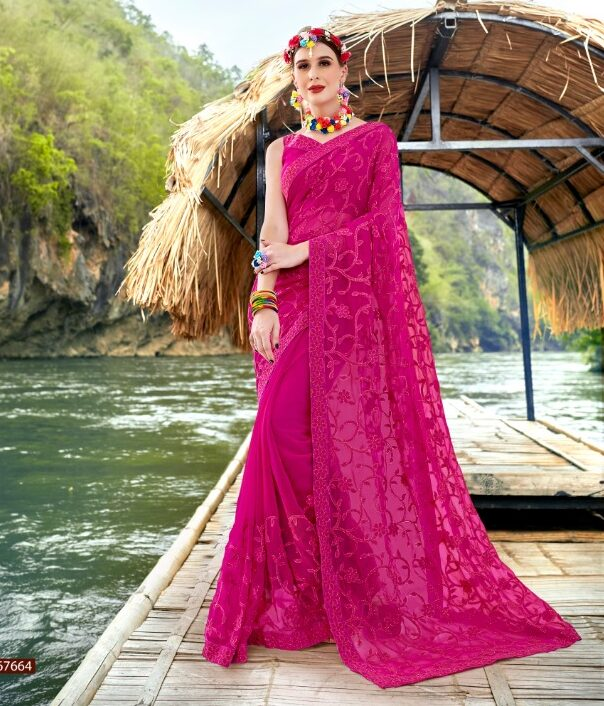 Resham Embroidery Work Magenta Colour Georgette Saree