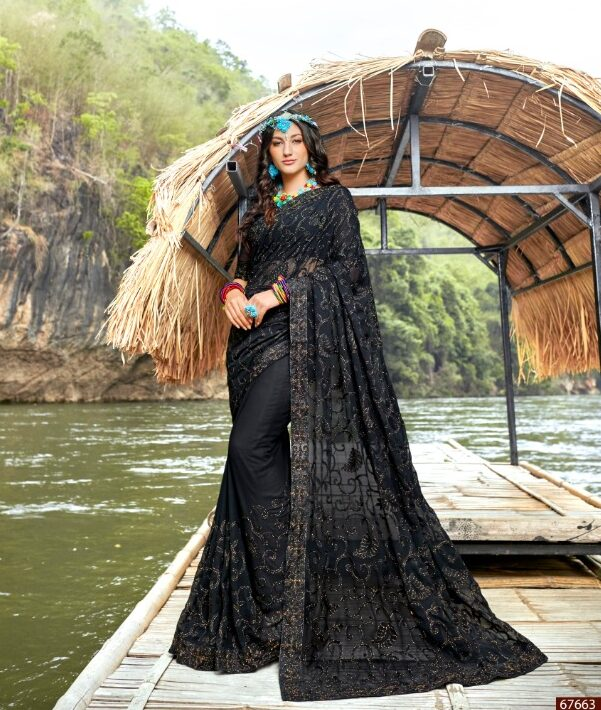 Resham Thread Work Sarees in Black