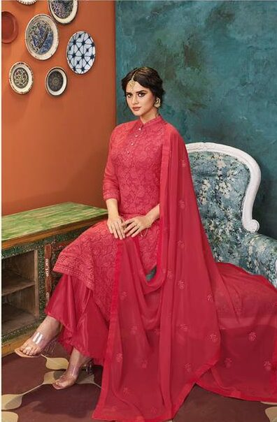 best embroidered dull santoon heavy georgette with work suit.