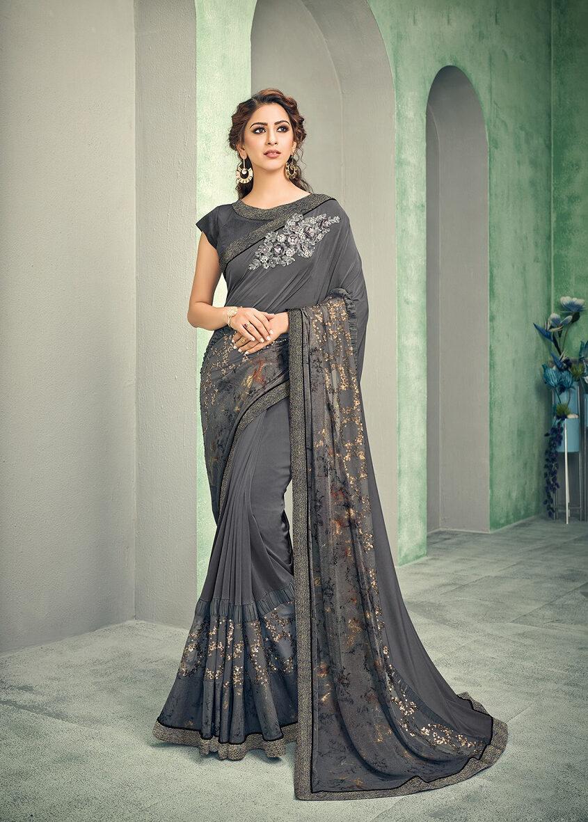 Best embroidered handwork Resham saree with contrast blouse.