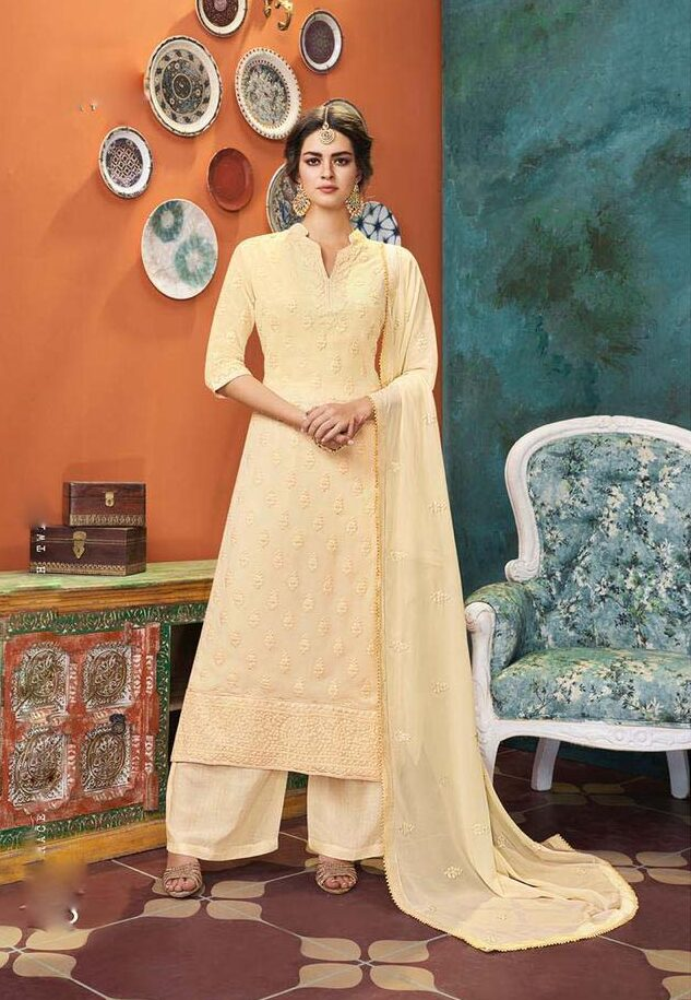 best embroidered heavy dull santoon with heavy georgette dupatta online.