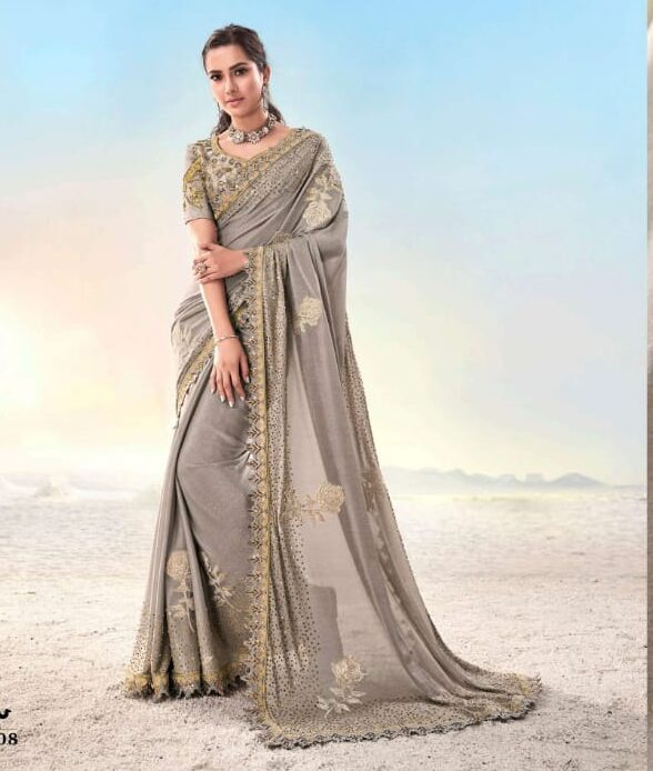 Best embroidered light grey color heavy work bridal saree