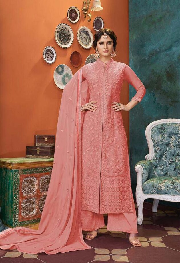 Best embroidered pink color suit with heavy georgette work dupatta