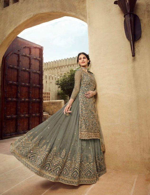 Best embroidered grey color georgette gown with a price.