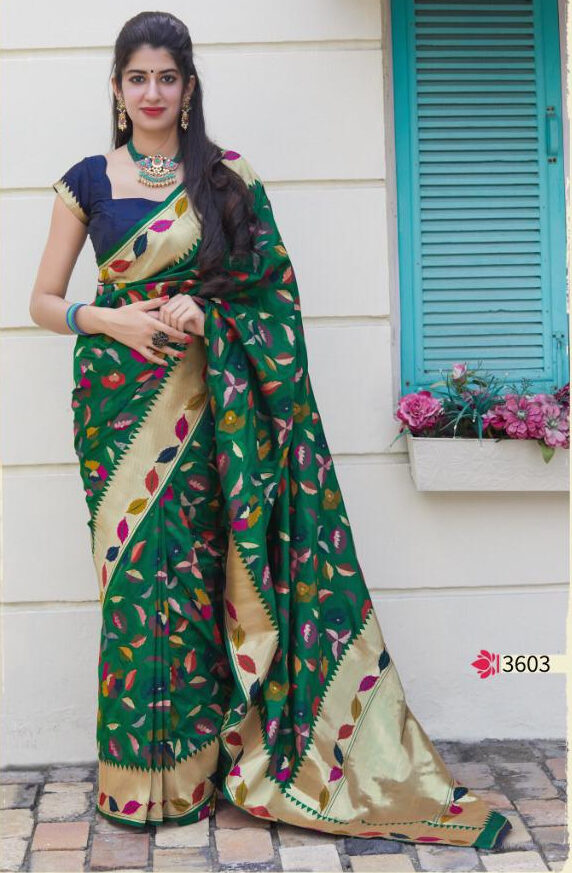 Latest Designer Floral Print Sarees Silk Zari Border