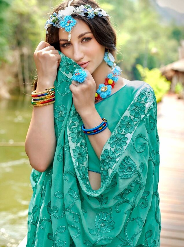turquoise blue Georgette saree online