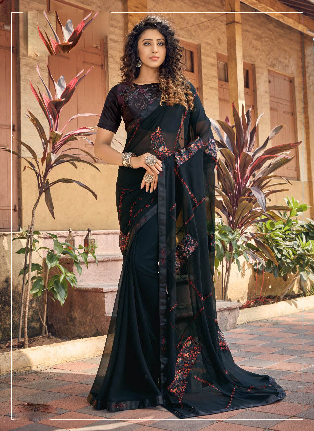 Best Black Color Fancy Georgette Silk Saree With Contrast Blouse