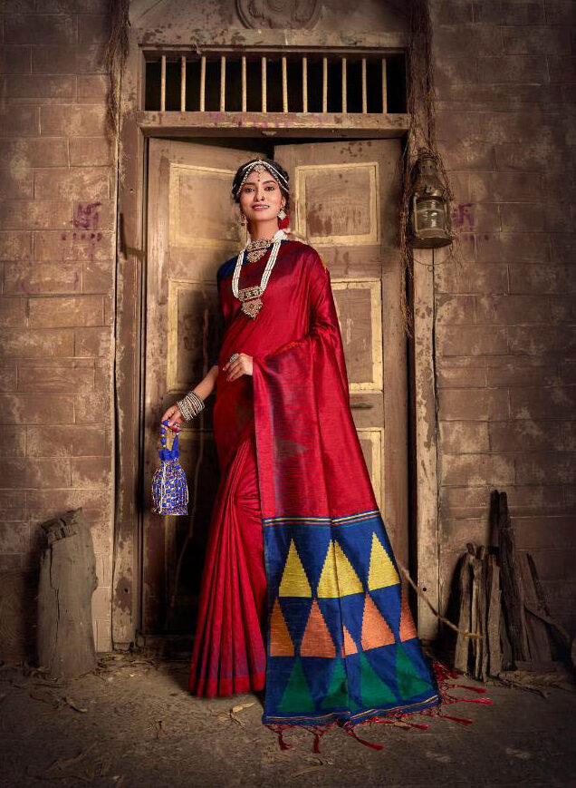 Best Georgette Red Color Plane Border Silk Saree With Blouse