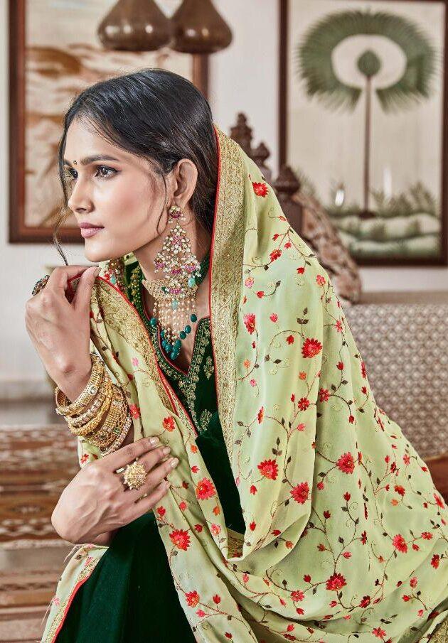 Best Georgette Green Color Velvet Heavy Work Wedding Punjabi Suit