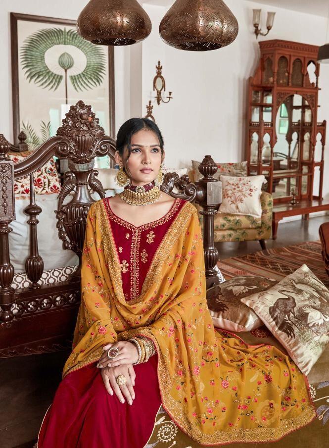 Best Georgette Red Color Bridal Velvet Heavy Work Salwar Suit