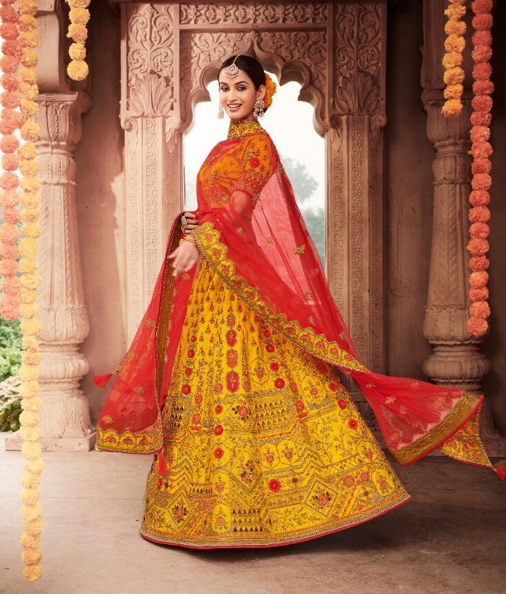 Best Haldi Ocassion Lehenga For Wedding Online Cost.