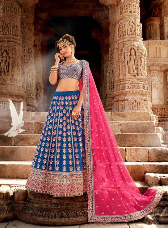 Best Latest Designer Blue Color Lehenga For Bridal Cost.