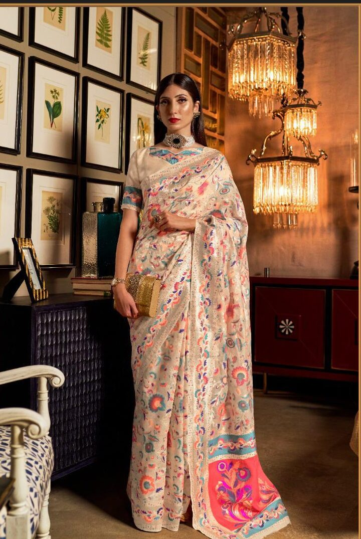 Best Latest Designer Kashmiri Print Silk Saree With Cost