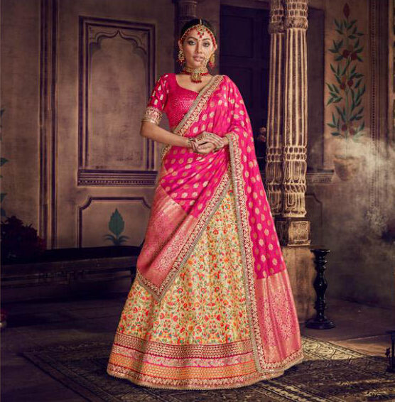 Best Latest Designer Pink Color Heavy Lehenga For Bride.