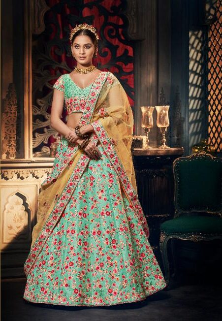Best Latest Designer Skyblue Color Lehenga For Partywear.