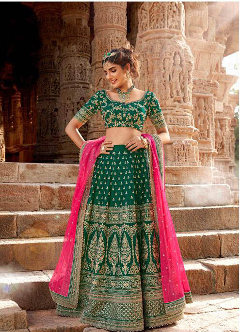 Best Latest Mode Green Color Lehenga For Royal Wedding,