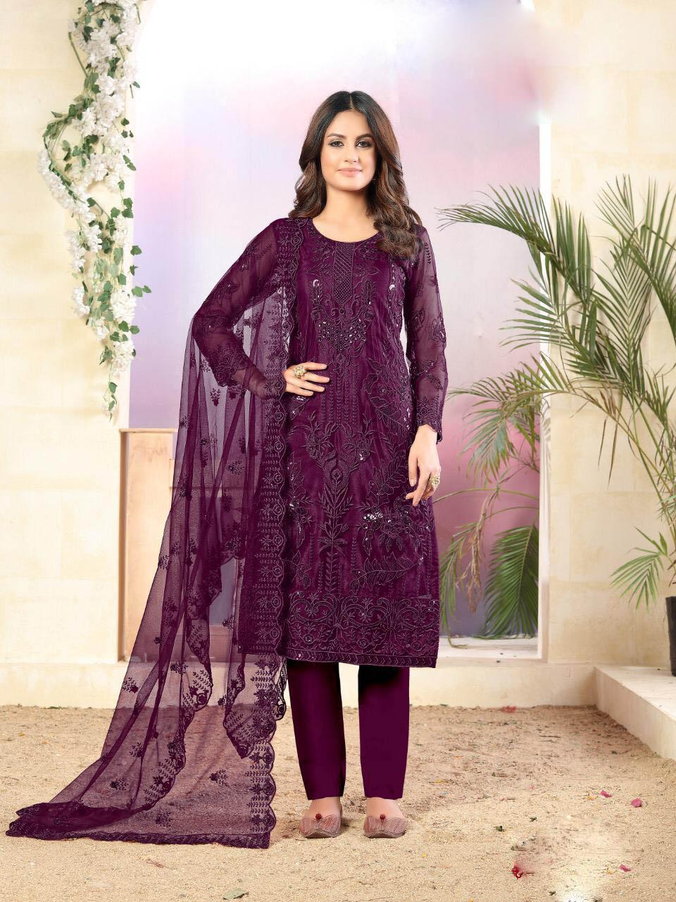 Best Latest Purple Color Net Designer Salwar Suit Online With A Price