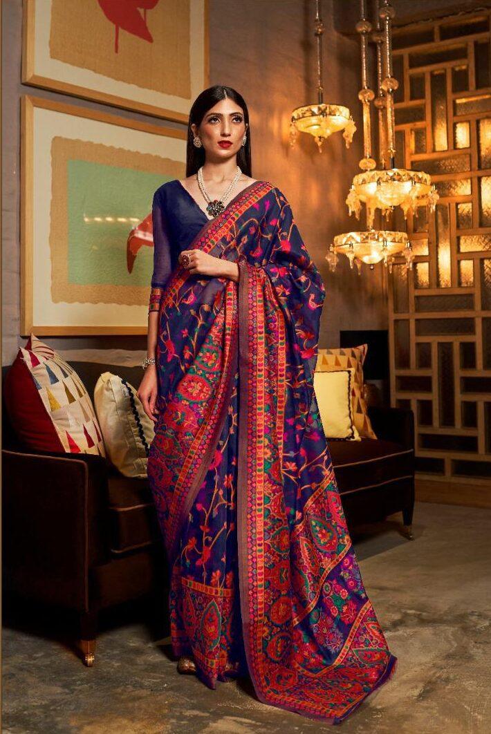 Best Latest Trend Designer Blue Color Kashmiri Silk Saree Online