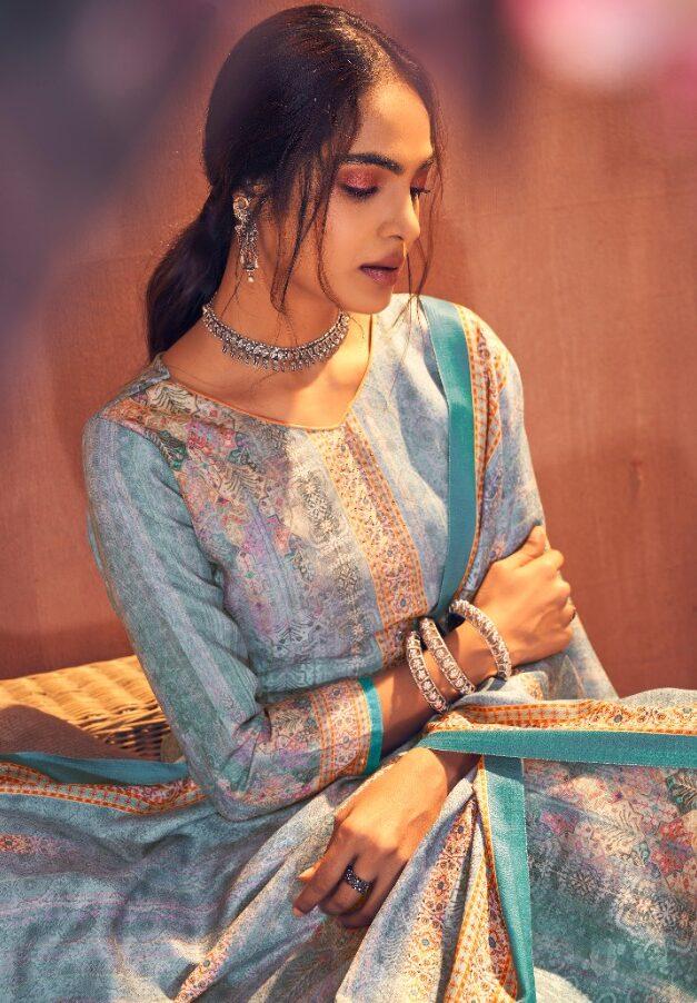 Best Light Blue Pure Pashmina Winter salwar kameez