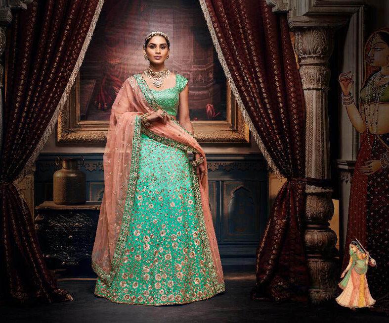 Best Trend Designer Bright Sky-Blue Color Lehenga For Wedding.