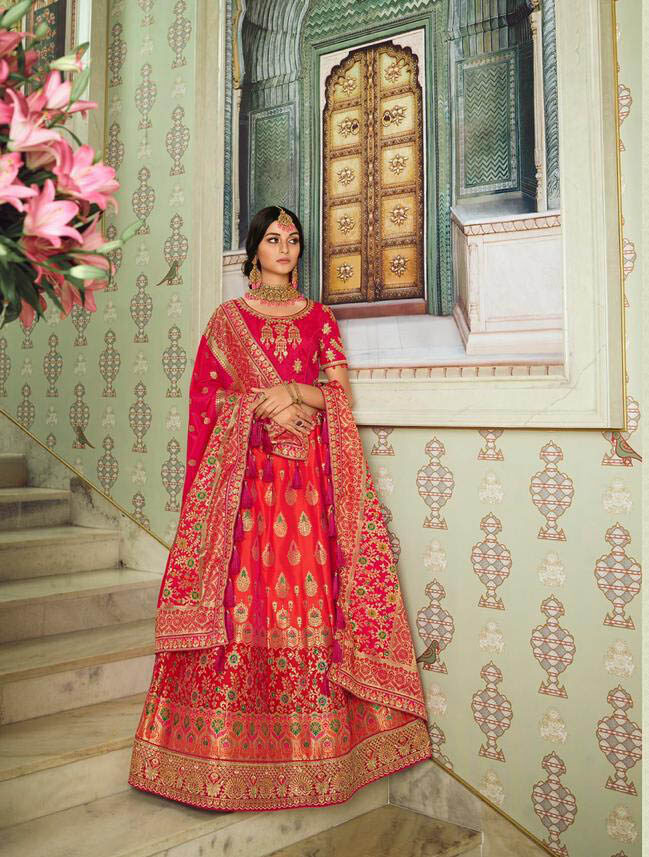Best Up To Date Trending Fashion Pink Color Silk Lehenga.