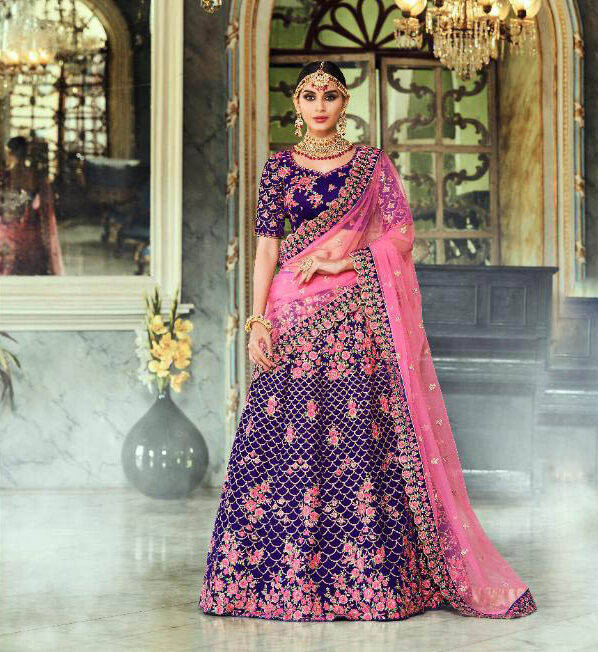 Best Zari Style Blue Color Lehenga For Bridal Online Cost.