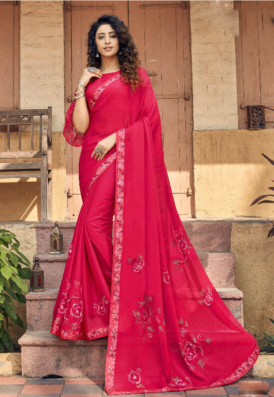 Best latest Designer Red Color Fancy Georgette Saree
