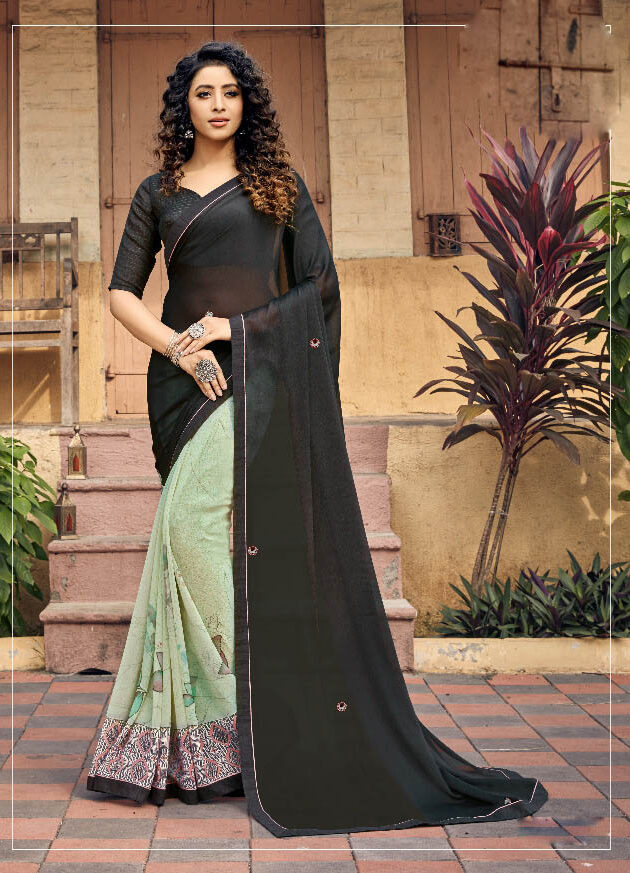 Brand New Latest Designer Grey Color Silk Georgette Saree