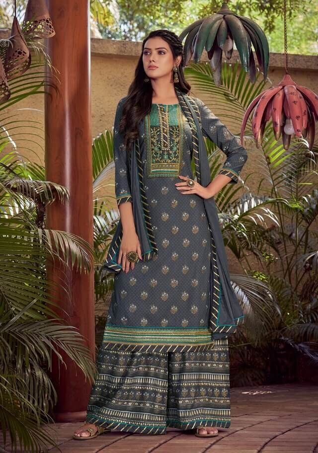 Designer Grey Colour Readymade Suits For Ladies