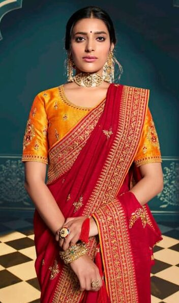 Designer Red and Yellow Saree Designs for Wedding 2020