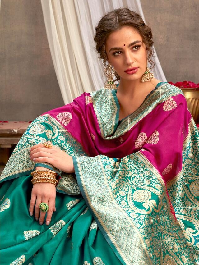 Green and Magenta Combination Saree for Party Wear