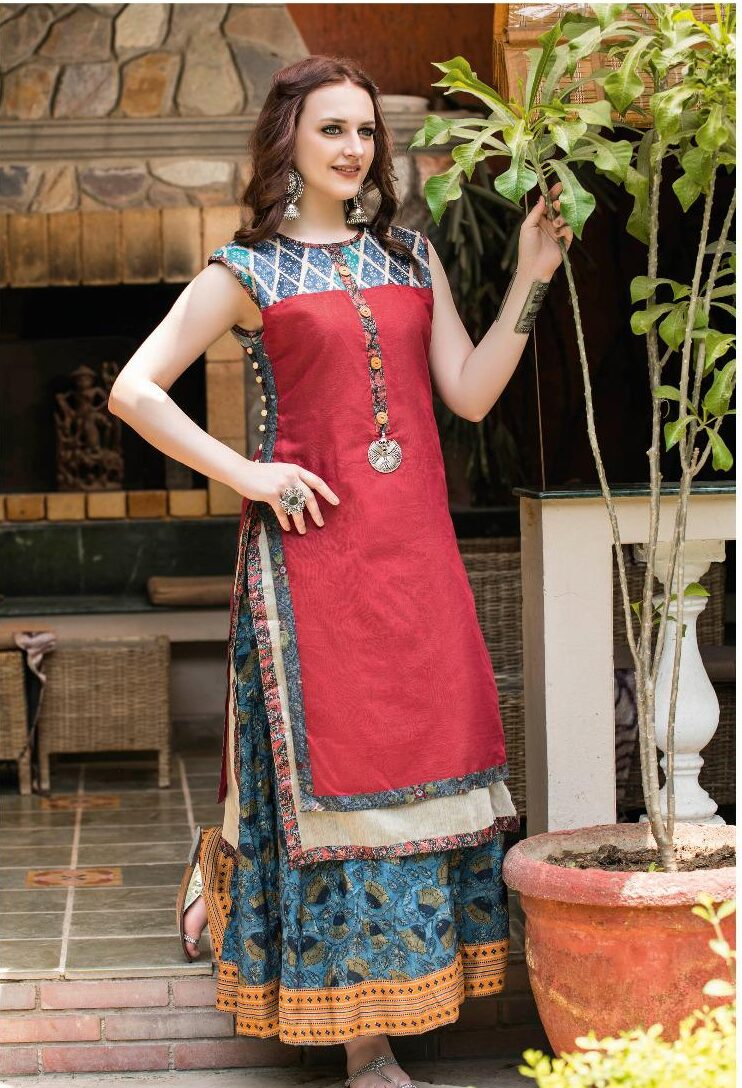 Latest Designer Double Layered Anarkali Kurti Front Neck Design