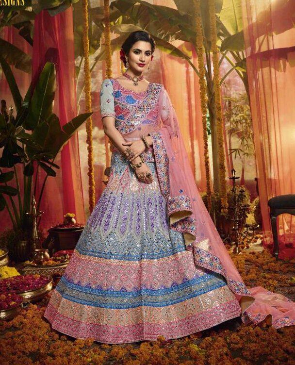 Latest Designer Purple Colour Lehenga for Bridal