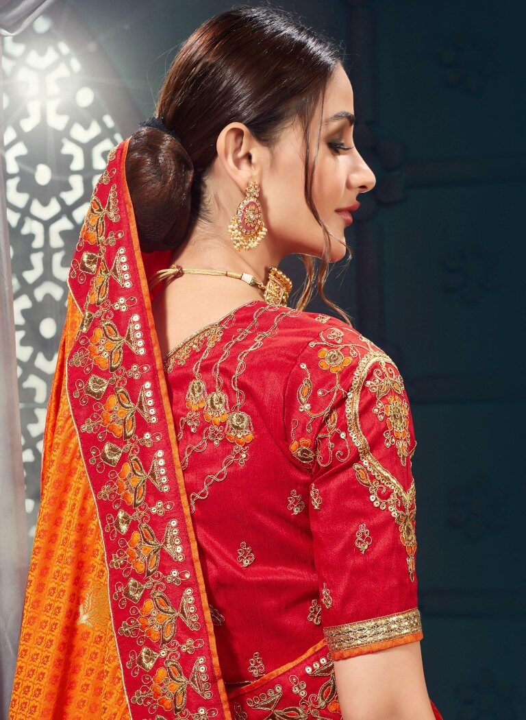 Latest Designer Red Orange Bridal Silk Saree
