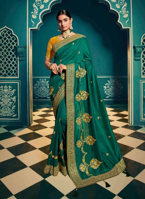 Latest Designer Sarees for Wedding Party in Green with Yellow Blouse